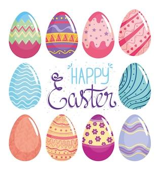 Gelukkig pasen belettering kaart met eieren geschilderde illustratie