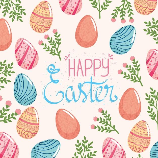 Gelukkig pasen belettering kaart met konijnen en eieren geschilderde illustratie