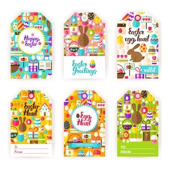 Gelukkig pasen cadeau etiketten. platte vectorillustratie van voorjaarsvakantie tags.