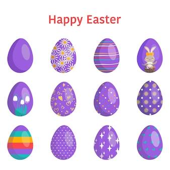 Gelukkig pasen. collectie van eieren met verschillende texturen, patronen en feestelijke decoraties op een witte achtergrond. lente vakantie. platte vectorillustratie