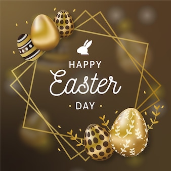 Gelukkig pasen-dag gouden eieren en kader