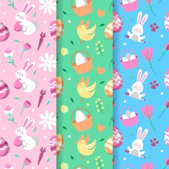Gelukkig pasen-dag naadloos patroon met met kip en konijntjes
