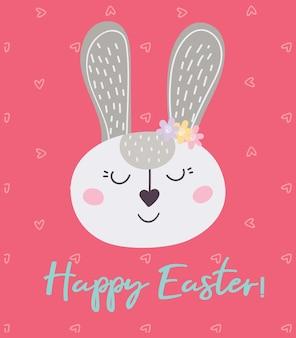 Gelukkig pasen. een ansichtkaart met een konijn. vector illustratie