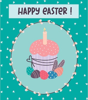 Gelukkig pasen. een ansichtkaart met een paastaart en eieren. vector illustratie