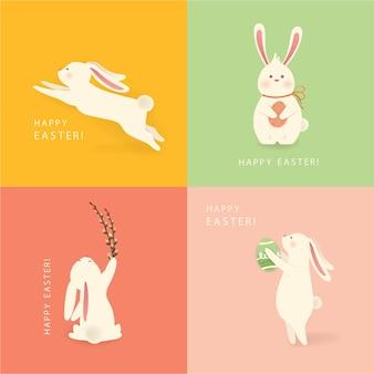 Gelukkig pasen. een set van vier witte, grappige cartoon konijn silhouetten karakter met paasei. Premium Vector