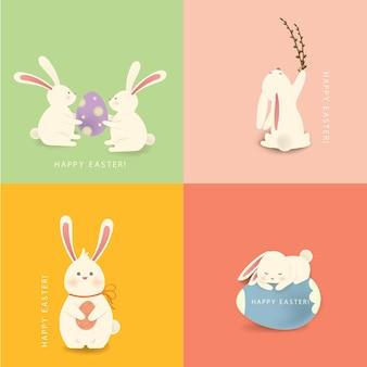 Gelukkig pasen. een set van vier witte, grappige konijn stripfiguur met paasei