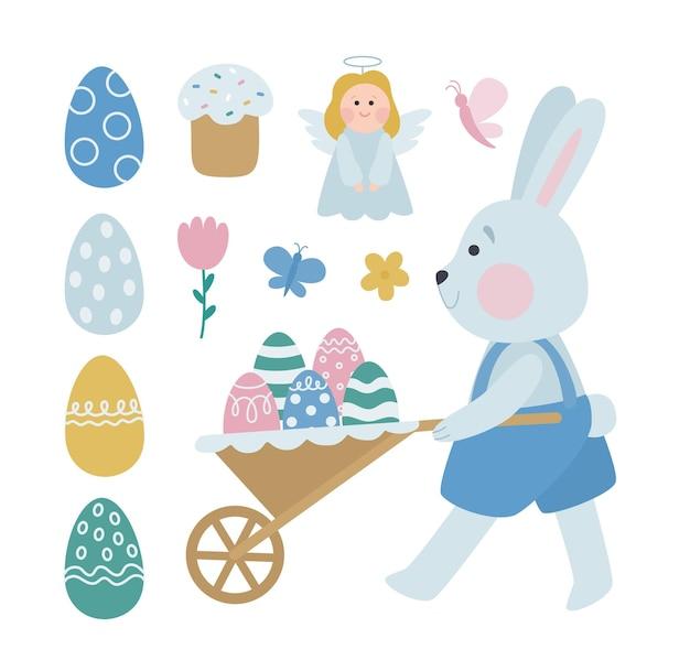 Gelukkig pasen. een verzameling van vector pasen-illustraties met een grijs konijn dat eieren verbergt. leuk vakantieontwerp voor sticker, briefkaart, decor in pastelkleuren