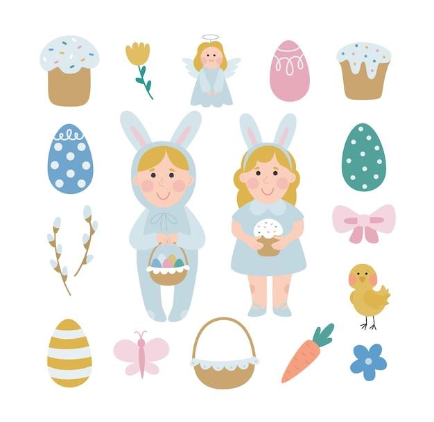 Gelukkig pasen. een verzameling vectorillustraties van pasen met kinderen in een konijnenkostuum die op paasjacht gaan.