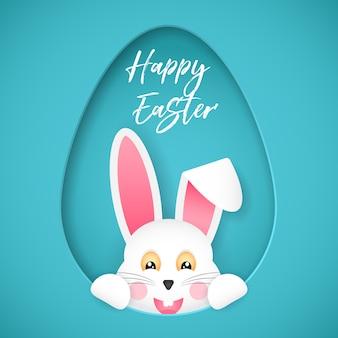 Gelukkig pasen. felicitatie poster. de paashaas kijkt uit het gat in de vorm van een ei. cartoon stijl.