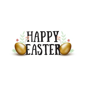 Gelukkig pasen hand getrokken belettering met gouden eieren en doodles. pasen wenskaart