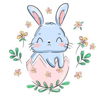 Gelukkig pasen. hand getrokken schattig konijn en ei. bunny en bloemen. illustratie. print ontwerp.
