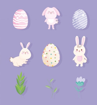 Gelukkig pasen kleine konijnen eieren bloem pictogrammen