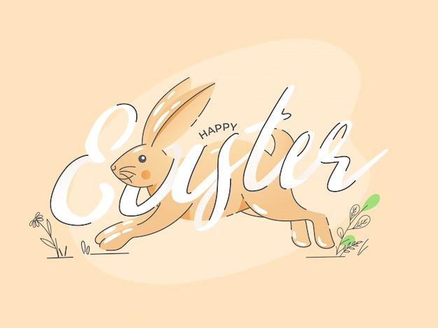 Gelukkig pasen-lettertype met cartoon bunny running op lichte perzikachtergrond.