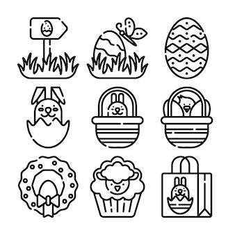 Gelukkig pasen lijn pictogrammen grote reeks. vector set van moderne dunne overzicht iconen voor website en mobiel.