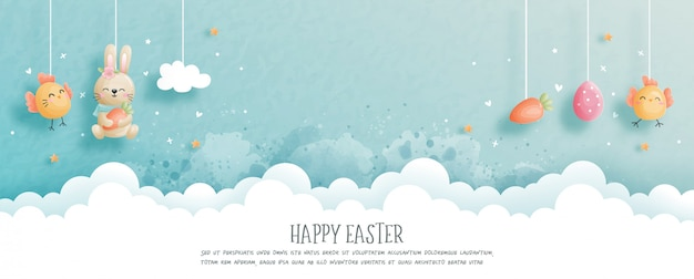 Gelukkig pasen met schattig konijntje en paaseieren in papier knippen stijl illustratie.