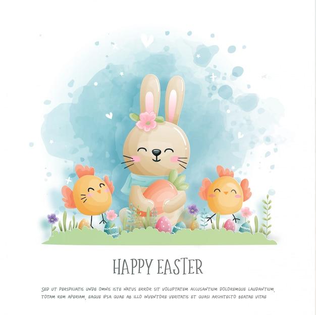 Gelukkig pasen met schattige konijntje en ester eieren in papier knippen stijl illustratie.