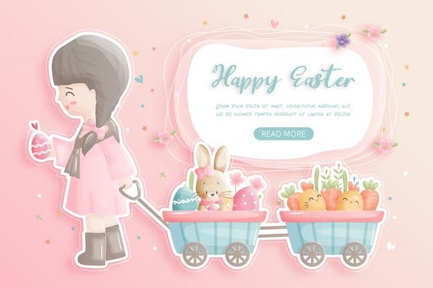 Gelukkig pasen met schattige meisje, konijntje en paaseieren in papier knippen stijl illustratie.