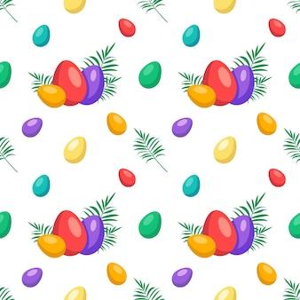 Gelukkig pasen naadloos patroon met eieren feestelijke decoratie met palmtak en bladeren