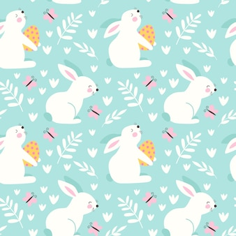 Gelukkig pasen naadloos patroon met konijn