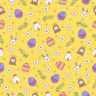 Gelukkig pasen naadloos patroon met konijntje, jezus christus, ei, bloem, tak, kip op gele achtergrond. groet, cadeaupapier en behang.