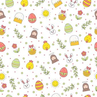 Gelukkig pasen naadloze patroon met konijn, jezus christus, ei, bloem, tak, kip op witte achtergrond. groet, cadeaupapier en behang