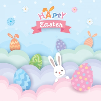 Gelukkig pasen-ontwerp met geschilderde eieren en leuk konijn.