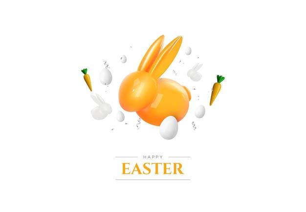 Gelukkig pasen. realistisch konijntje en eieren op witte achtergrond. pasen decoratie.