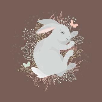 Gelukkig pasen. schattige konijn. paasvakantie concept. illustratie.