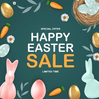 Gelukkig pasen-verkoopsjabloon met 3d-realistische paaseieren bunny wortel madeliefjebloem