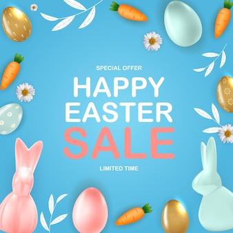 Gelukkig pasen verkoopsjabloon met 3d-realistische paaseieren bunny wortel sjabloon