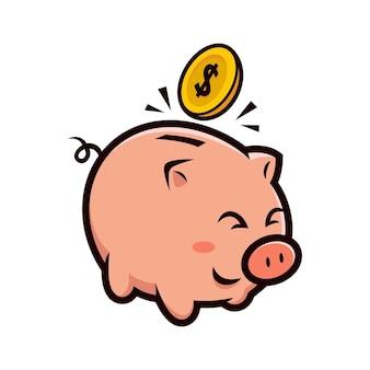 Gelukkig piggy bank mascotte ontwerp