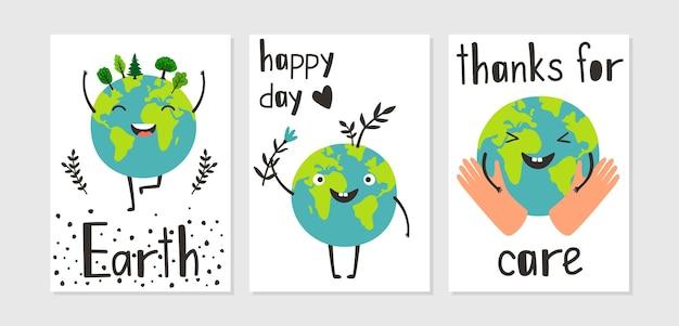 Gelukkig planeet poster. zorg voor de aarde, cartoon eco-kaarten met natuur en menselijke hand vector set