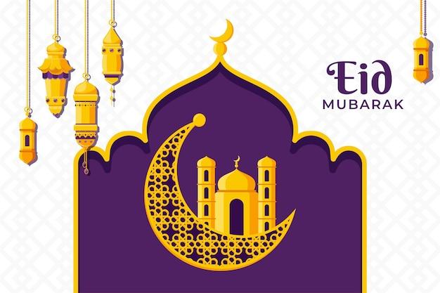 Gelukkig plat ontwerp eid mubarak