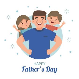 Gelukkig platte ontwerp vaderdag en familie