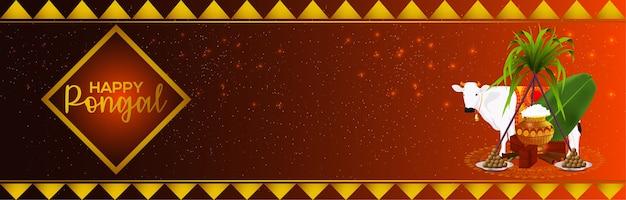 Gelukkig pongal banner of koptekst concept