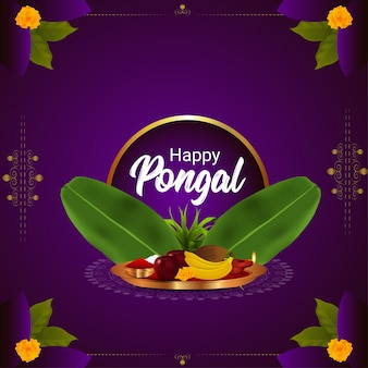 Gelukkig pongal feest op paarse achtergrond met bananenbladeren