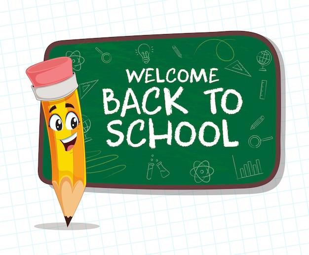 Gelukkig potlood met terug naar school groen bord