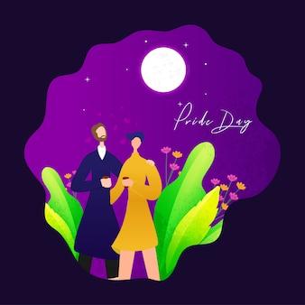 Gelukkig pride day-concept met vrolijk paar, nachtachtergrond.