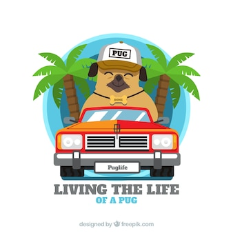 Gelukkig pug met palmbomen en koele auto