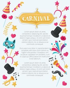 Gelukkig purim joodse vakantie carnaval illustratie ingesteld sjabloon