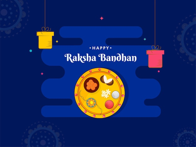 Gelukkig raksha bandhan concept met bovenaanzicht aanbidding plaat van rakhi en geschenkdozen hangen op blauwe achtergrond.