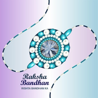 Gelukkig raksha bandhan indian festival viering wenskaart met realistische rakhi