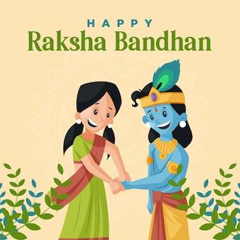 Gelukkig raksha bandhan indiase festival banner ontwerpsjabloon