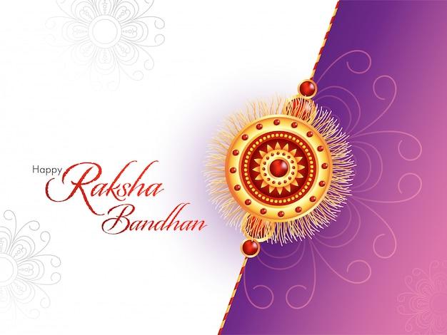 Gelukkig raksha bandhan-lettertype met mooie rakhi (armband) op witte en paarse bloemenachtergrond.