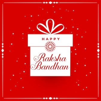 Gelukkig raksha bandhan rode achtergrond met cadeau