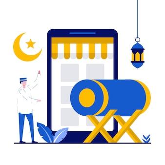 Gelukkig ramadan mubarak-groetconcept met kleine mensen