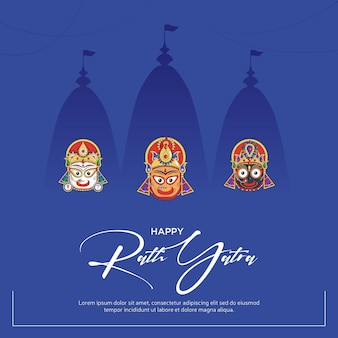 Gelukkig rath yatra-bannerontwerp op blauwe achtergrond.