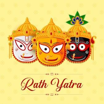 Gelukkig rath yatra-feest voor lord jagannath balabhadra en subhadra
