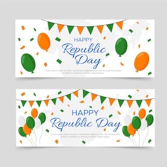 Gelukkig republiek dag banner plat ontwerp