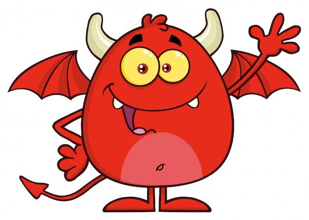 Gelukkig rode duivel stripfiguur zwaaien